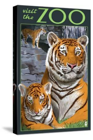 Visit the Zoo - Tiger Family-Lantern Press-Stretched Canvas Print