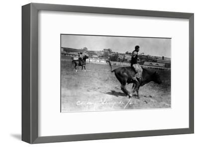 Calgary, Canada - Bullriding at the Stampede-Lantern Press-Framed Art Print