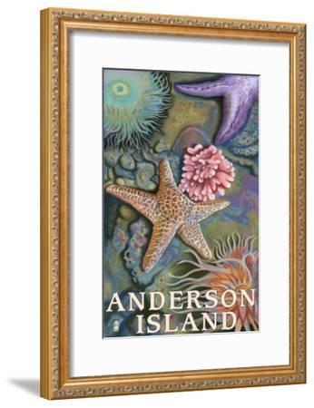 Anderson Island, WA Tidepools-Lantern Press-Framed Art Print