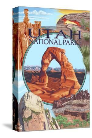Utah National Parks - Delicate Arch Center-Lantern Press-Stretched Canvas Print
