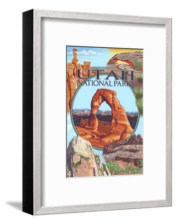 Utah National Parks - Delicate Arch Center-Lantern Press-Framed Art Print