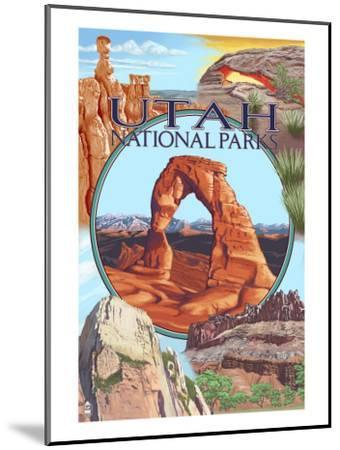 Utah National Parks - Delicate Arch Center-Lantern Press-Mounted Art Print