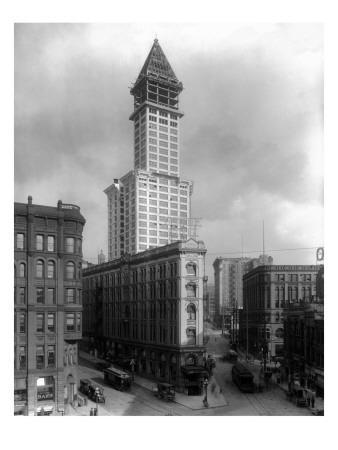 Pioneer Square and Smith Tower Construction - Seattle, WA-Lantern Press-Framed Art Print