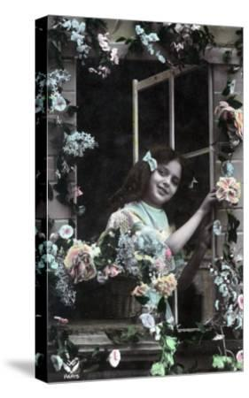Paris, France - Little Girl at Window with Flowers-Lantern Press-Stretched Canvas Print