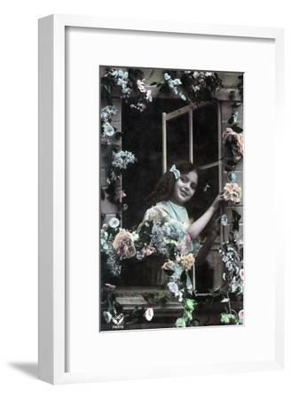 Paris, France - Little Girl at Window with Flowers-Lantern Press-Framed Art Print