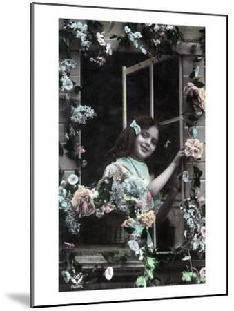 Paris, France - Little Girl at Window with Flowers-Lantern Press-Mounted Art Print