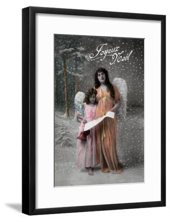 Joyeux Noel - Merry Christmas in French, Little Girl Carols with Angel-Lantern Press-Framed Art Print