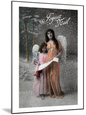 Joyeux Noel - Merry Christmas in French, Little Girl Carols with Angel-Lantern Press-Mounted Art Print