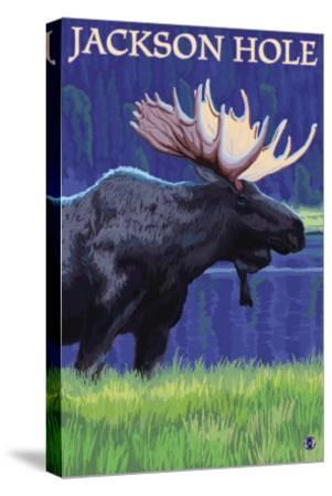 Jackson Hole, Wyoming - Moose at Night-Lantern Press-Stretched Canvas Print