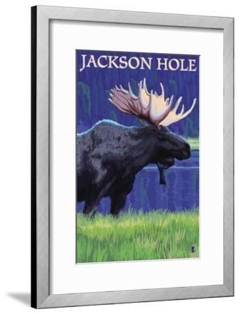 Jackson Hole, Wyoming - Moose at Night-Lantern Press-Framed Art Print