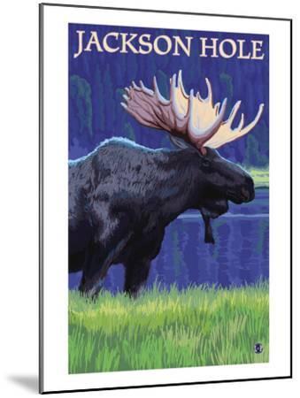 Jackson Hole, Wyoming - Moose at Night-Lantern Press-Mounted Art Print