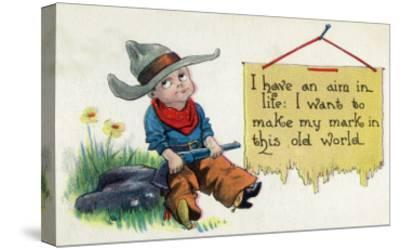Comic Cartoon - Cowboy Has an Aim in Like, Wants to Make His Mark-Lantern Press-Stretched Canvas Print