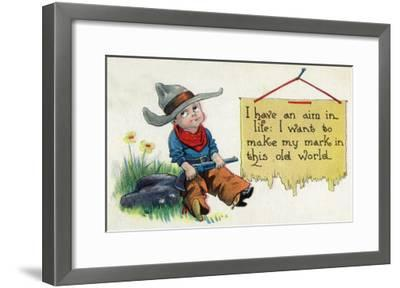Comic Cartoon - Cowboy Has an Aim in Like, Wants to Make His Mark-Lantern Press-Framed Art Print