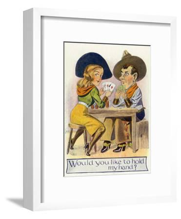 Comic Cartoon - Cowgirl and Cowboy Playing Poker, Cowgirl Wants You to Hold Her Hand-Lantern Press-Framed Art Print