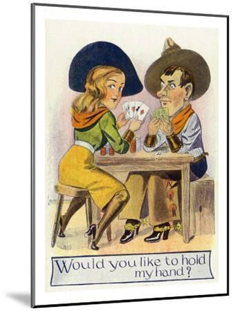 Comic Cartoon - Cowgirl and Cowboy Playing Poker, Cowgirl Wants You to Hold Her Hand-Lantern Press-Mounted Art Print