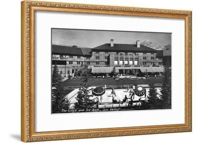 Sun Valley, Idaho - View of Lodge and Ice Rink-Lantern Press-Framed Art Print