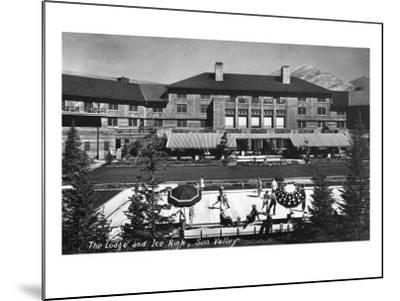 Sun Valley, Idaho - View of Lodge and Ice Rink-Lantern Press-Mounted Art Print