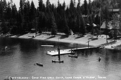Idaho - Lake Coeur d'Alene; Camp Sweyolakan-Lantern Press-Stretched Canvas Print