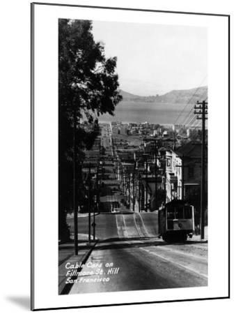San Francisco, California - Cable Cars on Fillmore Street Hill-Lantern Press-Mounted Art Print