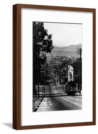 San Francisco, California - Cable Cars on Fillmore Street Hill-Lantern Press-Framed Art Print