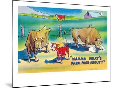 Comic Cartoon - Red Calf Asking Mamma Cow Why Papa Bull is Mad-Lantern Press-Mounted Art Print