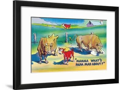 Comic Cartoon - Red Calf Asking Mamma Cow Why Papa Bull is Mad-Lantern Press-Framed Art Print