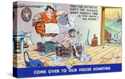 Comic Cartoon - Hillbillies; Pa Gets so Dirty, the Hogs Won't Stay inside-Lantern Press-Stretched Canvas Print