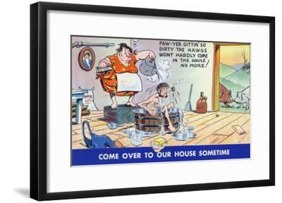 Comic Cartoon - Hillbillies; Pa Gets so Dirty, the Hogs Won't Stay inside-Lantern Press-Framed Art Print