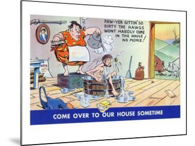 Comic Cartoon - Hillbillies; Pa Gets so Dirty, the Hogs Won't Stay inside-Lantern Press-Mounted Art Print