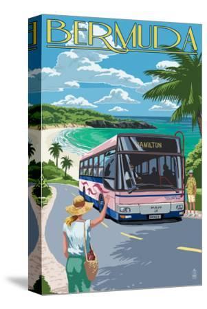 Bermuda - Pink Bus on Coastline-Lantern Press-Stretched Canvas Print