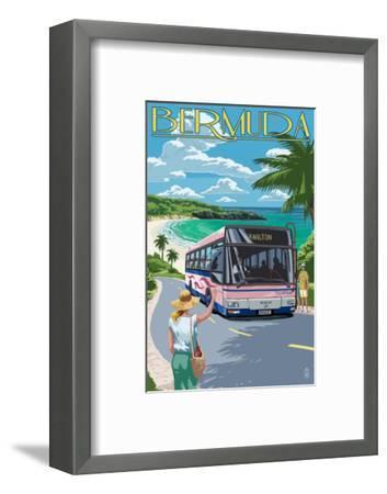 Bermuda - Pink Bus on Coastline-Lantern Press-Framed Art Print