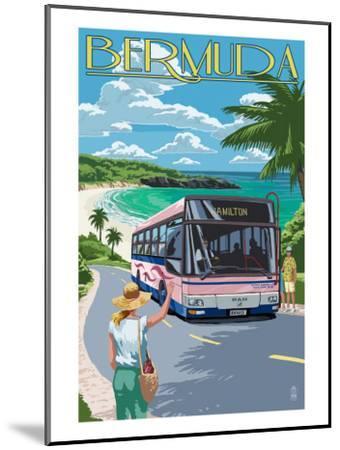 Bermuda - Pink Bus on Coastline-Lantern Press-Mounted Art Print