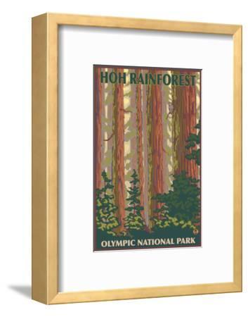Hoh Rainforest - Olympic National Park-Lantern Press-Framed Art Print