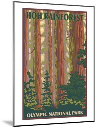 Hoh Rainforest - Olympic National Park-Lantern Press-Mounted Art Print
