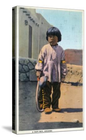 Arizona - Hopi Indian Boy outside of Pueblo-Lantern Press-Stretched Canvas Print