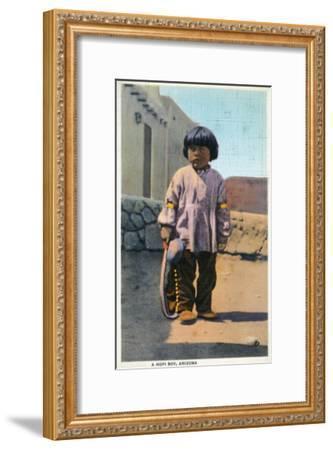 Arizona - Hopi Indian Boy outside of Pueblo-Lantern Press-Framed Art Print
