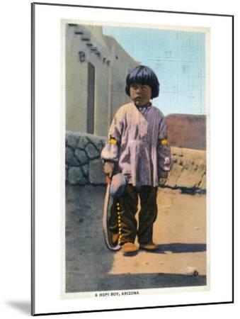 Arizona - Hopi Indian Boy outside of Pueblo-Lantern Press-Mounted Art Print