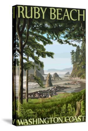 Ruby Beach, Washington Coast-Lantern Press-Stretched Canvas Print