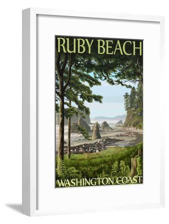 Ruby Beach, Washington Coast-Lantern Press-Framed Art Print