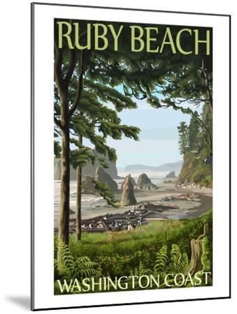 Ruby Beach, Washington Coast-Lantern Press-Mounted Art Print