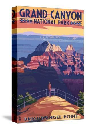 Grand Canyon National Park - Bright Angel Point-Lantern Press-Stretched Canvas Print