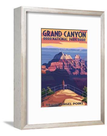 Grand Canyon National Park - Bright Angel Point-Lantern Press-Framed Premium Giclee Print