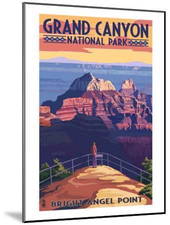 Grand Canyon National Park - Bright Angel Point-Lantern Press-Mounted Art Print
