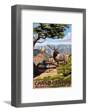 Grand Canyon National Park - Elk & Point Imperial-Lantern Press-Framed Premium Giclee Print