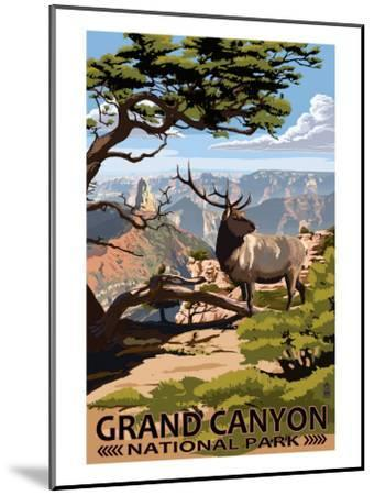 Grand Canyon National Park - Elk & Point Imperial-Lantern Press-Mounted Premium Giclee Print