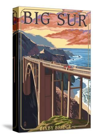 Bixby Bridge - California Coast-Lantern Press-Stretched Canvas Print