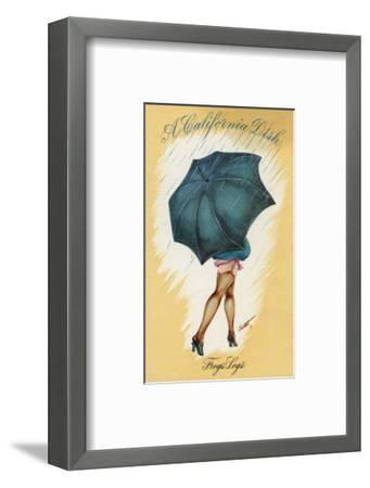 California - A Californian Dish, Frog's Legs; Woman with Good Legs and Umbrella-Lantern Press-Framed Art Print