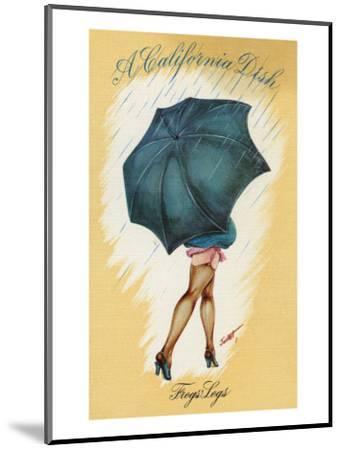 California - A Californian Dish, Frog's Legs; Woman with Good Legs and Umbrella-Lantern Press-Mounted Art Print