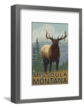 Missoula, Montana - Elk Scene-Lantern Press-Framed Art Print