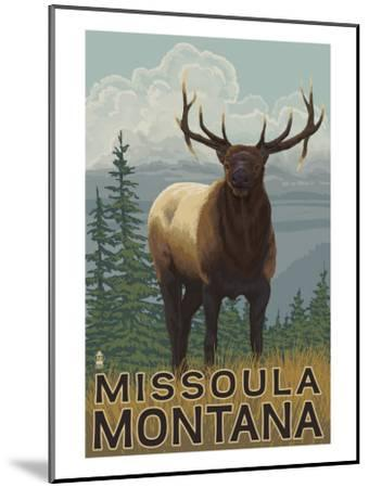 Missoula, Montana - Elk Scene-Lantern Press-Mounted Art Print